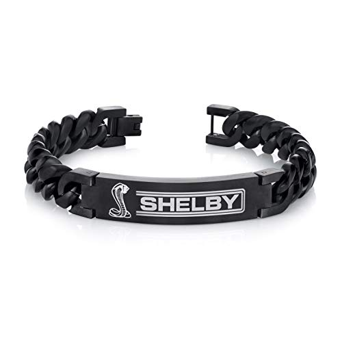 SHELBY Cobra Black Satin and Leather Bracelet | Black Steel Chain-Link and Leather Bracelet for Men Cobra Super Snake