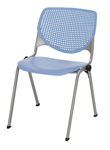 (KFI Seating KOOL Poly Stack Chair with Perforated Back, Peri Blue)