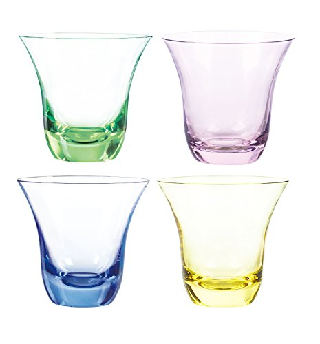 Pink Double Old Fashioned - Qualia Glass Aurora Double Old Fashioned Glasses, 11-Ounce, Emerald/Pink/Amber/Blue, Set of 4