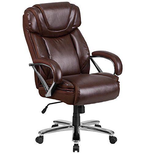 Flash Furniture HERCULES Series Big & Tall 500 lb. Rated Brown Leather Executive Swivel Chair with Extra Wide Seat (Wide Series)