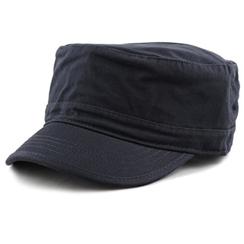 (THE HAT DEPOT Cadet Army Washed Cotton Basic Cap Military Style Hat (Navy))
