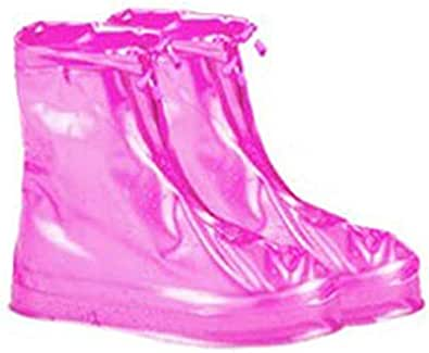 rose red Shoes Covers Rain Snow Boots Waterproof Reusable Anti-Slip Foldable Thicken Sole Overshoes Galoshes Women Men L