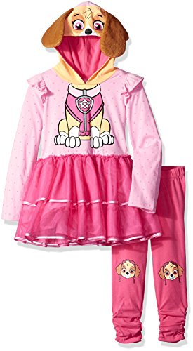 Nick Rewind Girls' Toddler' Skye Pup Costume Dress & Legging 2-Piece Bundle Set, Pink/Multi, 2T]()