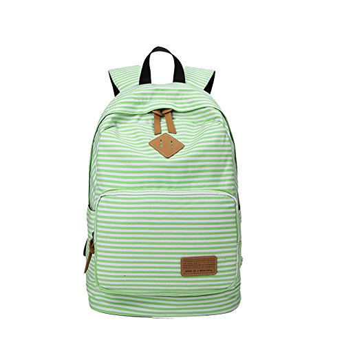Green Striped Backpack - Fashion Girls Striped Book Bags Laptop School Backpack for Women (Green)