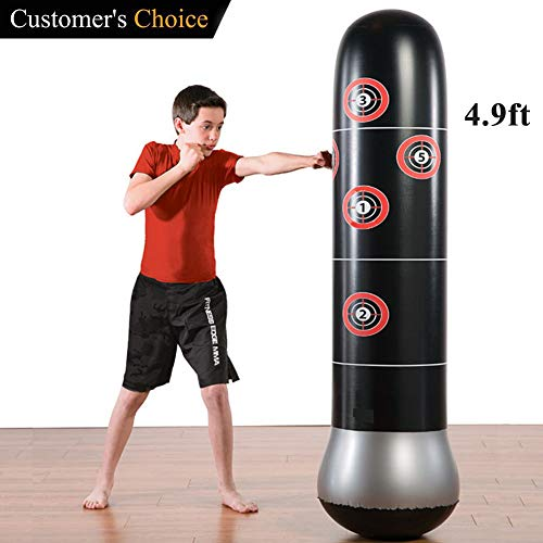 Eforoutdoor Inflatable Fitness Punching Bag Heavy Punching Bag Inflatable Punching Tower Bag Freestanding Children Fitness Play Adults De-Stress Boxing Target Bag,59 Height,Black
