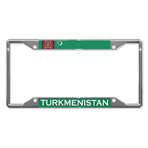 Turkmenistan Flag Country Chrome License Plate Frame Tag Holder Four Holes