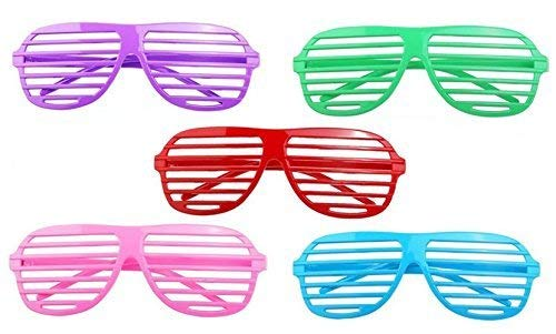 48 Shutter Shade Sunglasses In Neon Colors - Funky, Retro Party Glasses Complement Any Costume - High-Quality, Flexible Plastic Won't Break - Great Dance Accessory and Costume Party -