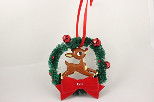 Erin Reindeer Christmas Ornament Personalalized (Rudolph The Red Nosed Reindeer Elf Name)
