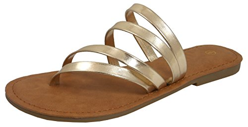 Cambridge Select Dames Strappy String Slip-on Platte Slide Sandaal Goud