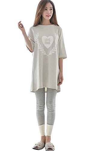 Cute Pigiami due COCO Primavera Donna pezzi Grigio Cartoon Casa clothing a Sleepwear Lunga Autunno Maglie Manica Pantaloni Pigiama Stampate axxq4pwn5E