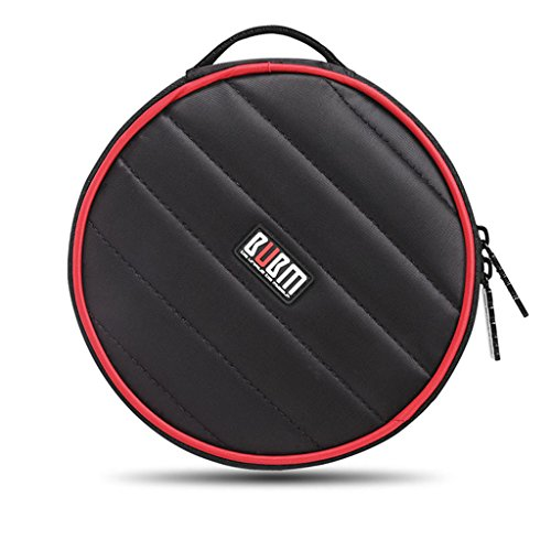 BUBM Portable Polyester CD/DVD Wallet 32 Disc Capacity Storage Carrying Case Bag Protector Organizer (Black) by BUBM