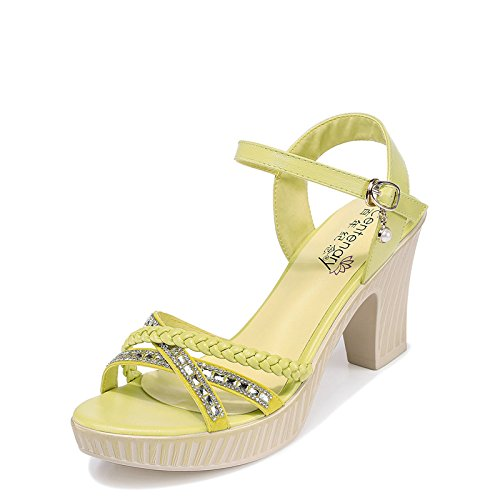 HGTYU Sandals In Summer Women'S Shoes And In Rome With The Comfort That Girl And 8Cm High-Heel Shoes Yellow jwEI3