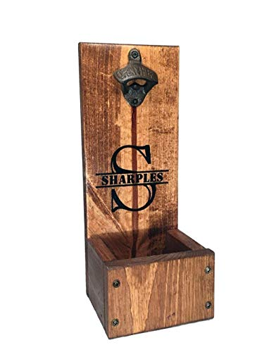 - Bottle Opener with Cap Catcher - Wall Mount or Freestanding - Personalized Rustic Wood Gift - Groomsmen, Wedding and Anniversary gift sets
