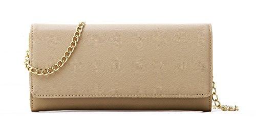Womens-Faux-Saffiano-Leather-Bifold-Cross-Body-Clutch-Wallet