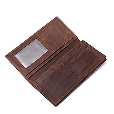 Men's RFID Blocking Vintage Genuine Leather Long Wallets Bifold Wallet
