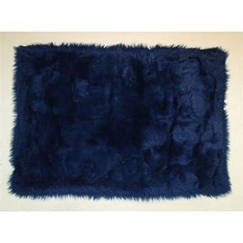 Fun Rugs FLK 001 3958 Flokati Accent Rug, Dark Blue 39 Inch By