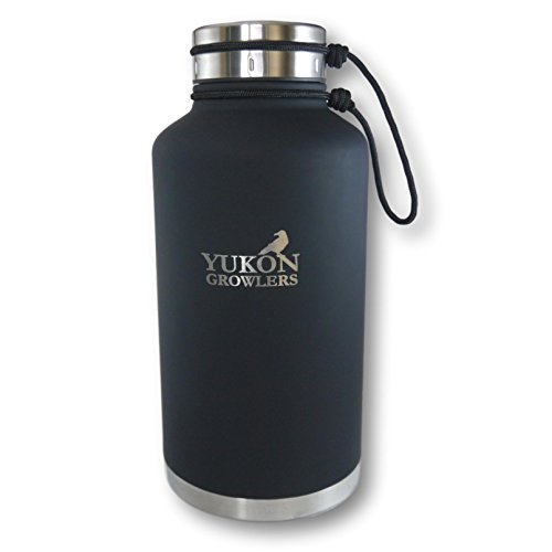 NEW IMPROVED Vacuum-Insulated Stainless Steel Growler - 64 oz - Keep Your Beer Cold and Carbonated for 24 Hours or Coffee Hot for 12 Hours - Double-Walled Water Bottle by Yukon Growlers
