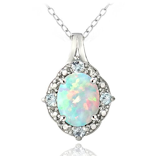 Sterling Silver Created White Opal & Light Blue Topaz Oval Necklace (Created Blue Opal Pendant)