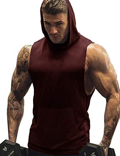 URRU Men's Workout Hooded Tank Tops Bodybuilding Muscle Cut Off T Shirt Sleeveless Gym Hoodies Wine Red S