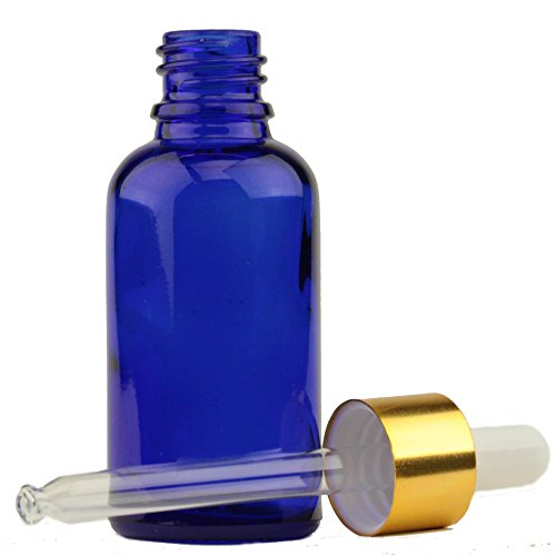 - 1oz. (30ml) Cobalt Blue Glass Essential Oil Bottle with Gold Aluminum Cap w/Attached White Rubber Bulb and Glass Dropper Tube (6 Pack)
