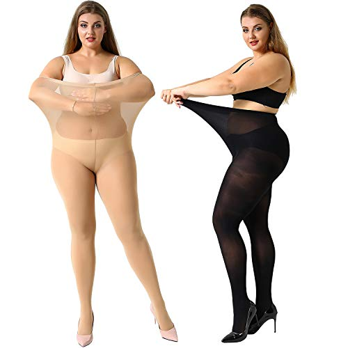 MANZI Women's 2 Pairs Plus Size Control Top Ultra-Soft Tights 2XL