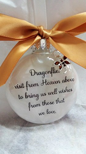 (Dragonfly Memorial Christmas Ornament - Dragonflies visit from Heaven - w/ Topaz Color Crystal)