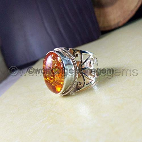 (baltic amber ring, solid 925 sterling silver, designer handmade jewelry, baltic amber heavy ring, Baltic amber mans ring, statement ring, metaphysical ring, filigree silver ring, man's ring)
