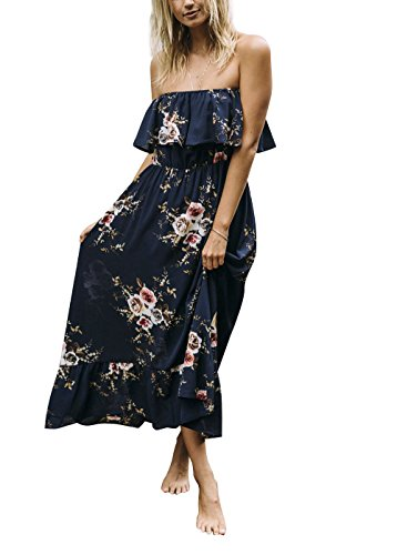 Walant Women's Boho Floral Printed Flowy Strapless Ruffle Long Beach Party Maxi Dress, Medium, Blue