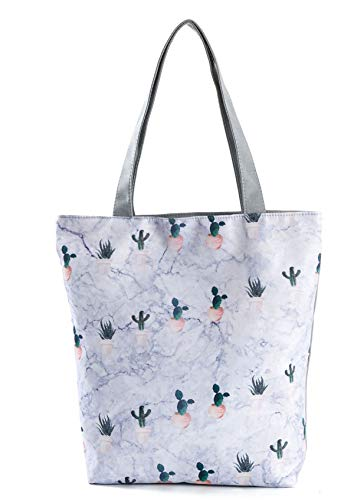 Nawoshow Women Girls Canvas Handbag Tote Shopping Shoulder Bag Top-Handle Bag Grey