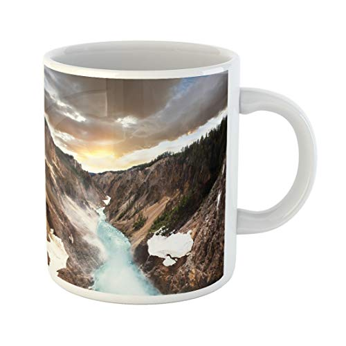 Semtomn Funny Coffee Mug Inspirational Canyon in Yellowstone Landscape Desert Hiking Mountain Park 11 Oz Ceramic Coffee Mugs Tea Cup Best Gift Or Souvenir -