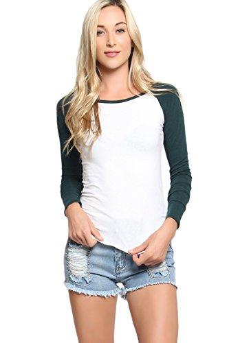 TheMogan Women's Ladies Baseball Raglan Long Sleeve T-Shirt - Dark Green - S