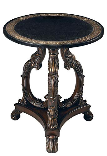 Butler Heritage Multi-Color Round Wood Products, Resin, Black Fossil Stone, Metal, Brass Lafayette Round Stone Accent Table ()
