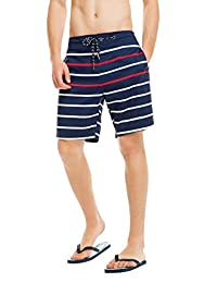 MADHERO Mens Quick-dry Board Shorts Flat Front Stripe Casual Shorts