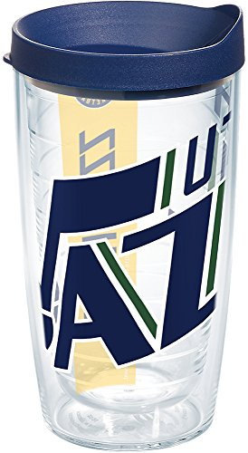 (Tervis 1235741 NBA Utah Jazz Colossal Tumbler with Wrap and Navy Lid 16oz, Clear)