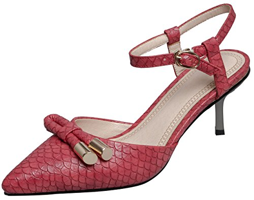 Calaier Kvinna Salsn Pekade Tå 6.5cm Stilett Spänne Sandaler Skor Röd