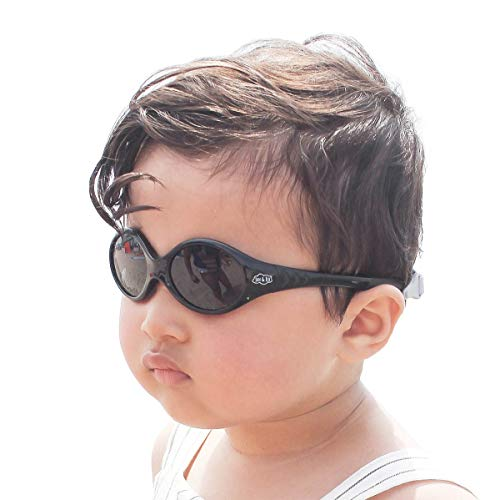 JAN & JUL Baby Toddler UV Protected Sun-glasses with Strap (S: 6-24 months, Jet Black) (Baby Sunglasses Around Wrap)