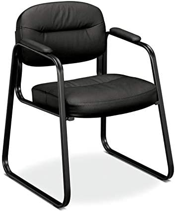 HON BSXVL653SB11 Sled Base Guest Leather Chair with Fixed Arms, Black HVL653