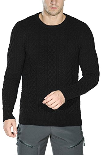 Rocorose Men's Cable Knit Long Sleeves Crewneck Sweater Black M (Cable Mens Crewneck)