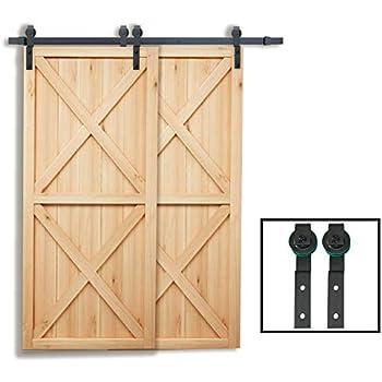 Amazon Com Winsoon 5ft Bypass Barn Door Hardware Sliding Kit 5 16ft For Interior Exterior Cabinet Closet Doors With Hangers J Shape Roller 2 X