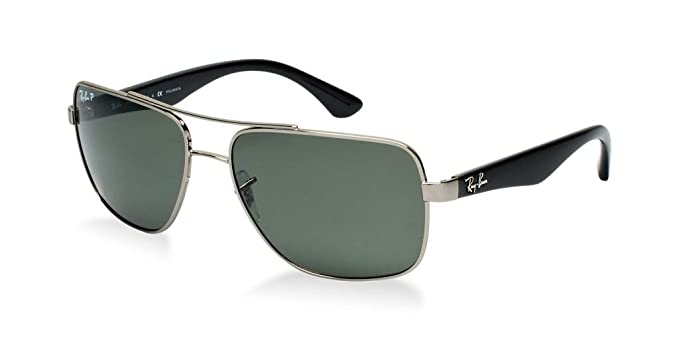 bb80fa19cc Image Unavailable. Image not available for. Color  Ray Ban RB3483 004 58 60  Gunmetal Crystal Green Polarized Sunglasses ...