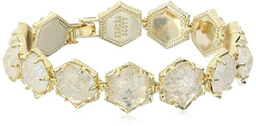 """Kendra Scott """"Starstruck"""" Grace Gold Crackle Crystal Glass Bracelet, 2.5"""""""