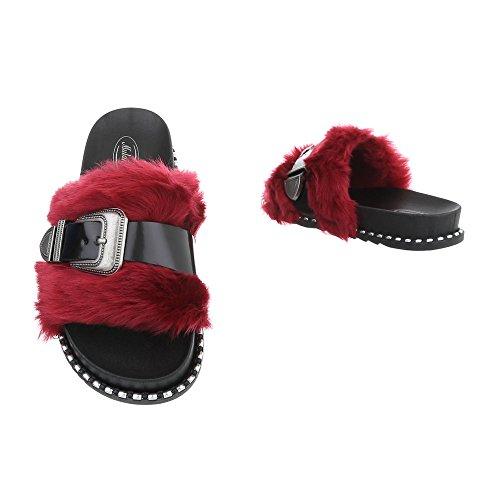 Zapatos para mujer Sandalias de vestir Plano Zuecos Ital-Design Negro Rojo 838
