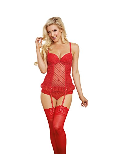 art-Jacquard Stretch Mesh Bustier and Panty Set, Lipstick Red, 38 (Stretch Jacquard Bustier)