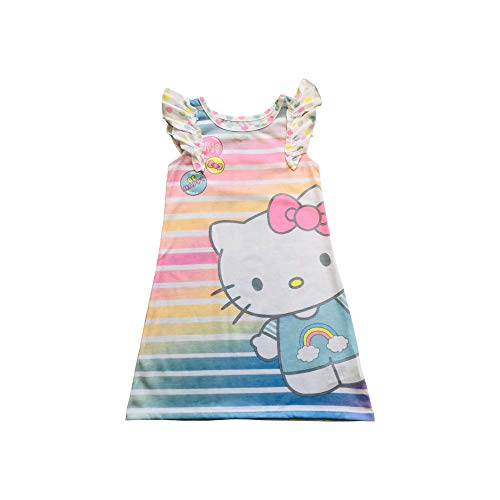 Hello Kitty Be Happy Neon Rainbow Striped and Polka dots Girls Nightgown