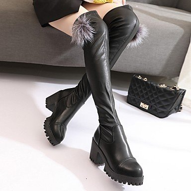 Women's PU Fashion Fall Black Dress Casual 1 Chunky Heel 4in 1in amp;xuezi Boots Boots 3 Black Gll Winter AwnRg5UxWW