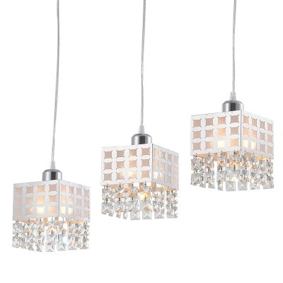 dingming White Square Shade and Lovely Crystal Beads Add Charm to Stunning Multi-Light Pendant