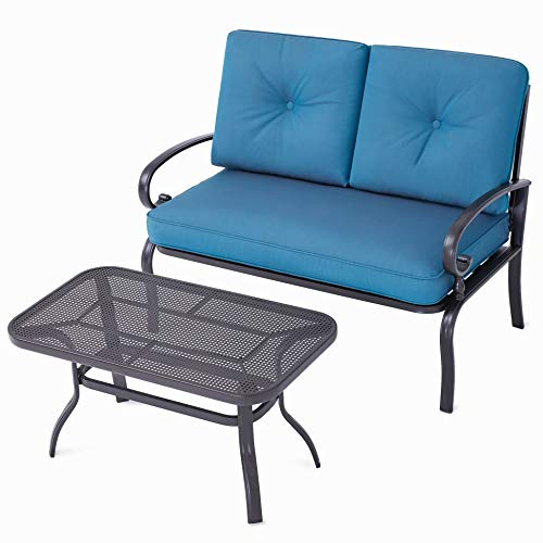 SOLAURA Patio Outdoor Furniture 2 Piece Loveseat Set Wrought Iron Frame Peacock Blue Cushions Bench Sofa with Coffee Table (Wrought Iron Sofa Patio)