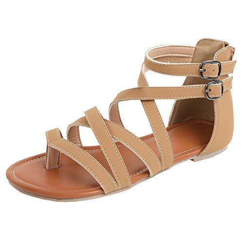 Ruanyu Womens Strappy Gladiator Flat Sandals Ankle Strap Open Toe Summer Sandals