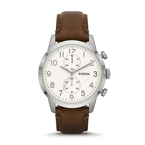 Fossil-Mens-FS4872-Townsman-Stainless-Steel-Watch-With-Brown-Leather-Band