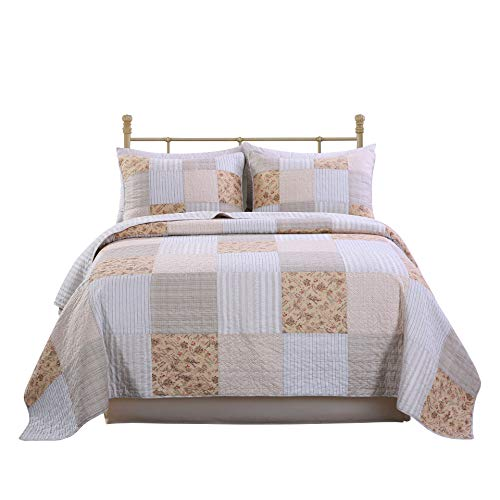 SLPR Country Lane 3-Piece Real Patchwork Cotton Quilt Set (Queen)   with 2 Shams Pre-Washed Reversible Machine Washable Lightweight Bedspread Coverlet